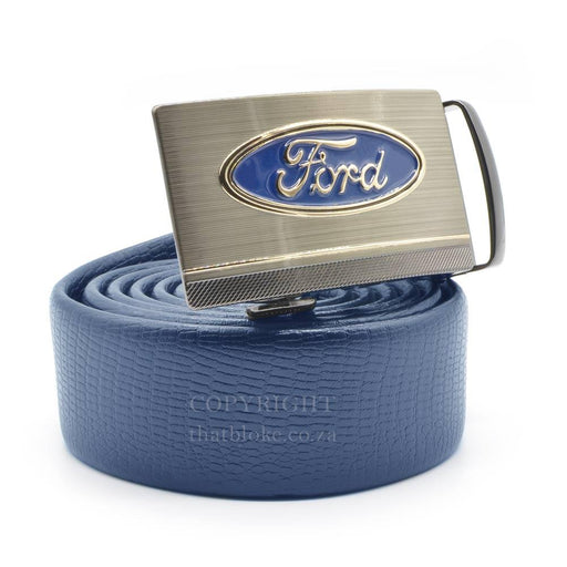 Ford Belt Logo Silver Image Side View Blue