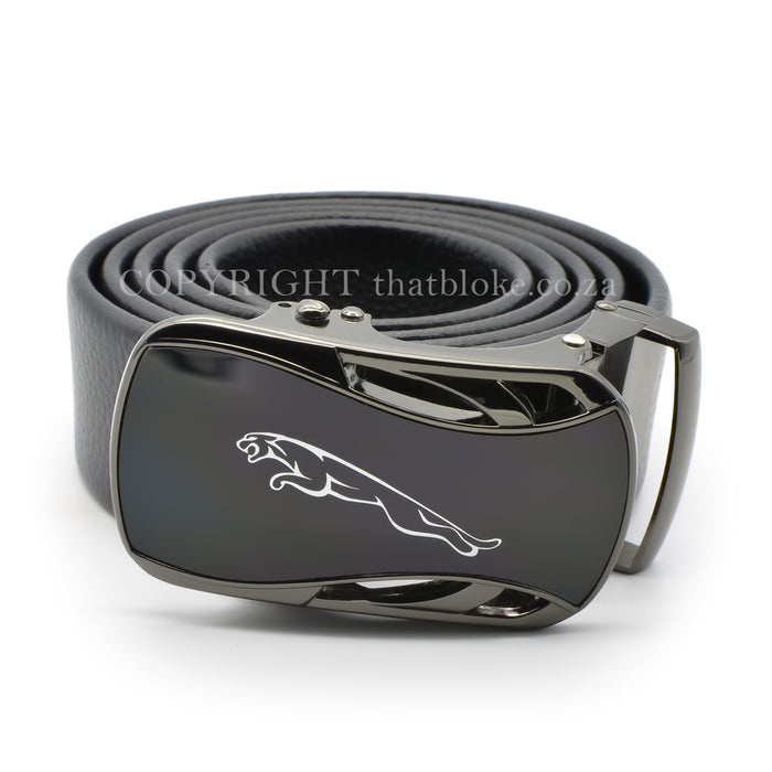 Jaguar Belt Gunmetal Black PU Leather Top View