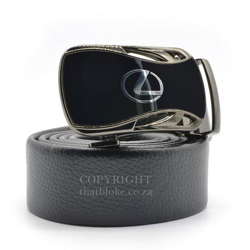 Lexus Belt Buckle Silver Car Logo Gunmetal Black Image Side View