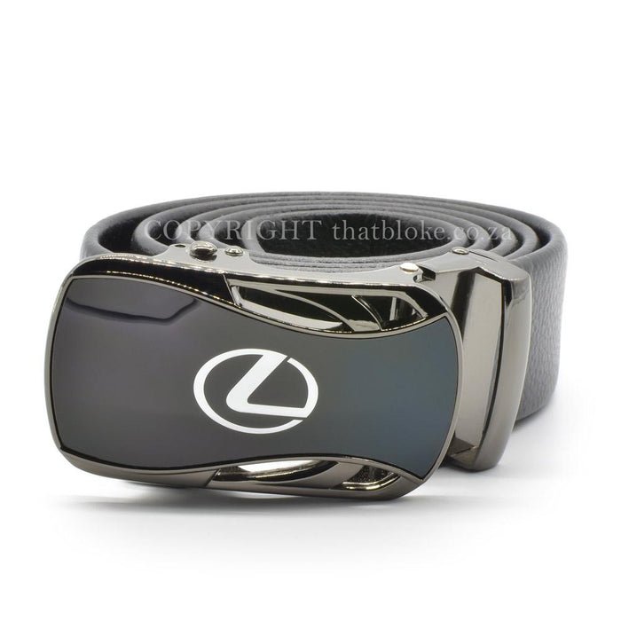 Lexus Belt Buckle Silver Car Logo Gunmetal Black Image Front