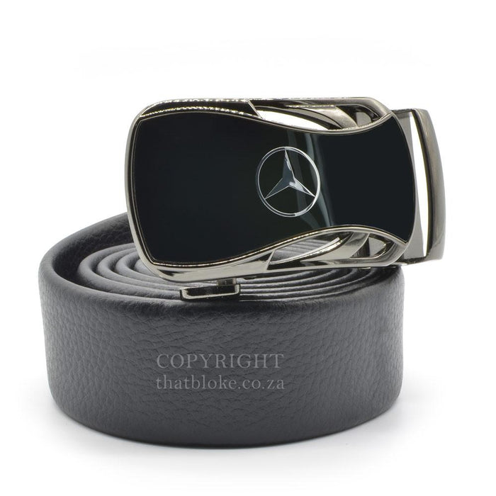 Mercedes-Benz Belt Buckle Gunmetal Black Car Logo Image Side View
