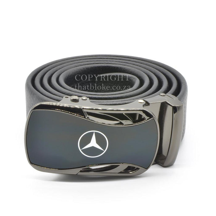 Mercedes-Benz Belt Buckle Gunmetal Black Car Logo Image Top Front View