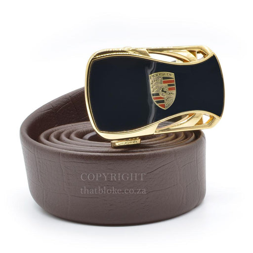 Porsche Belt Buckle Gold With Brown Belt Image Side View