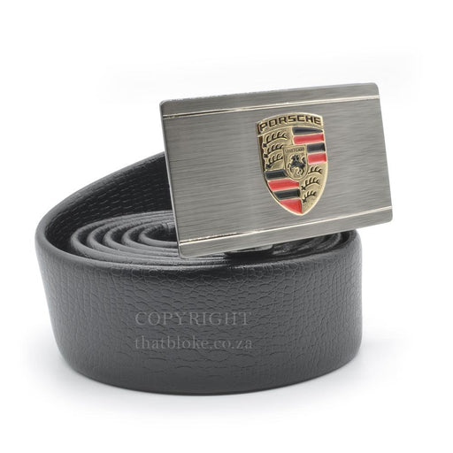 Porsche Belt Silver Buckle Black Image Side View