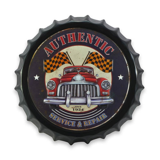 Bottle Cap Wall Sign - Authentic Service And Repair Classic Car | That Bloke