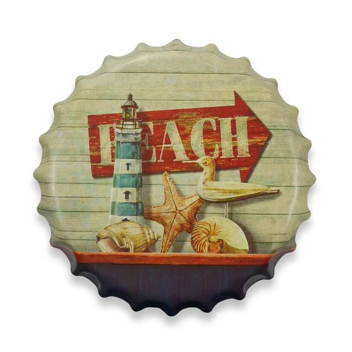 Beach Bottle Cap Metal Sign Round Front