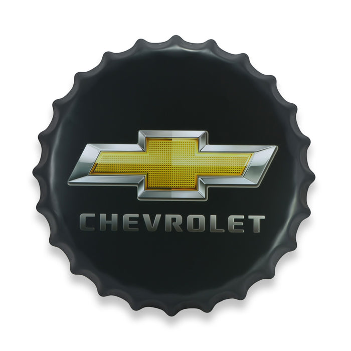 Chevrolet Bottle Cap Metal Sign Car Logo Round Front View
