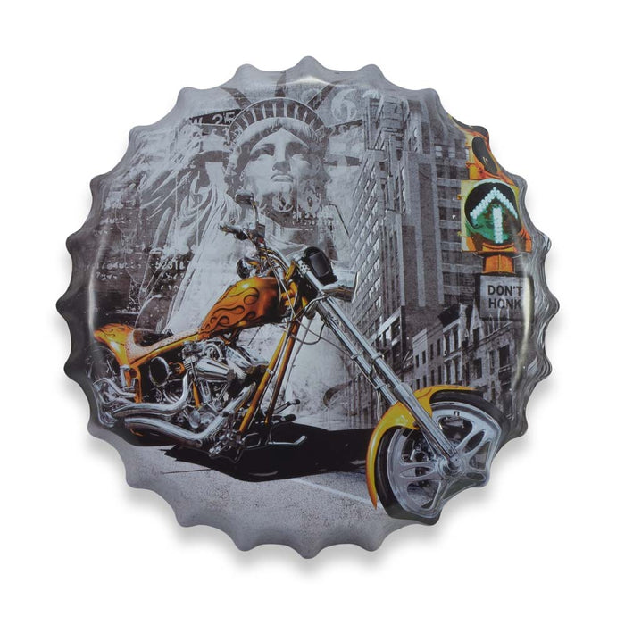 Custom American Chopper Motorcycle Bottle Cap Metal Sign Round Front View