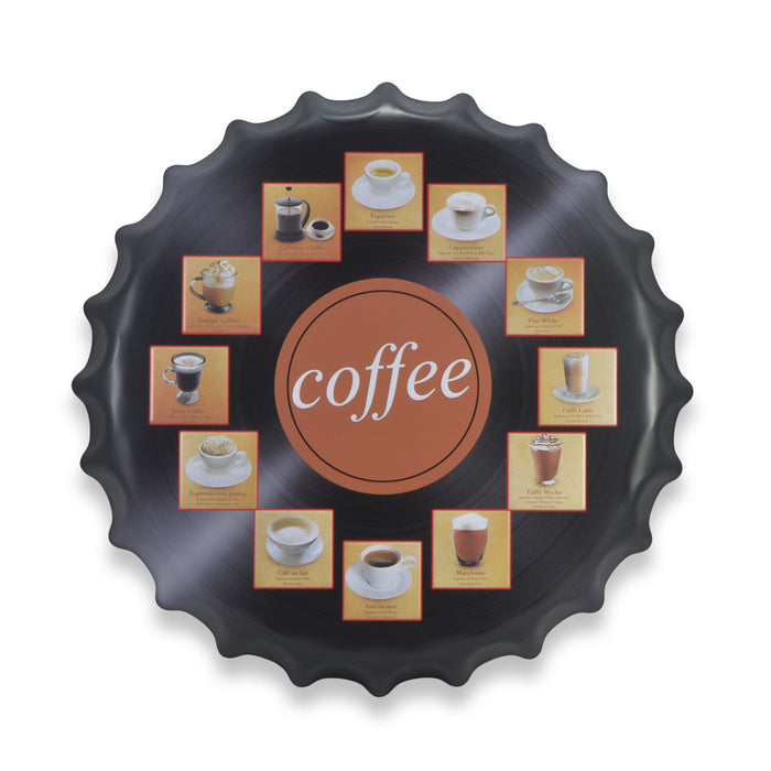 Different Types of Coffee Bottle Cap Metal Sign Round Front View