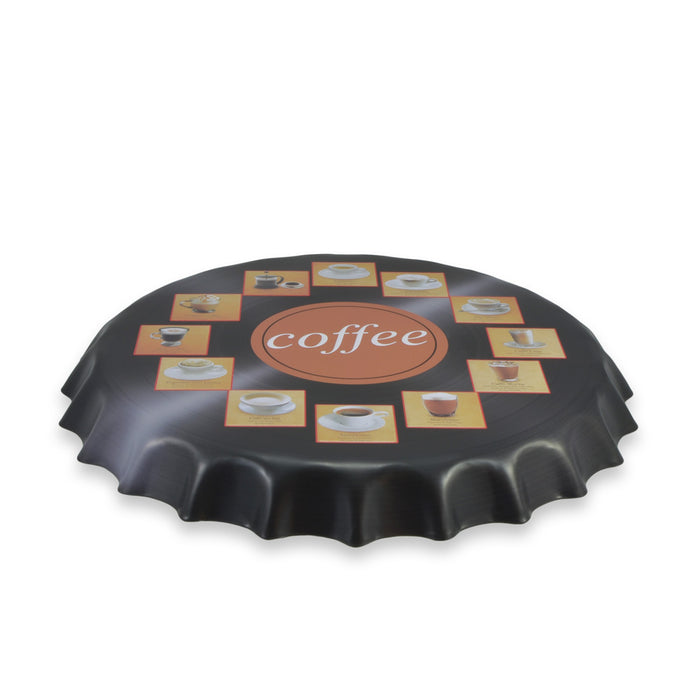 Different Types of Coffee Bottle Cap Metal Sign Round Top View