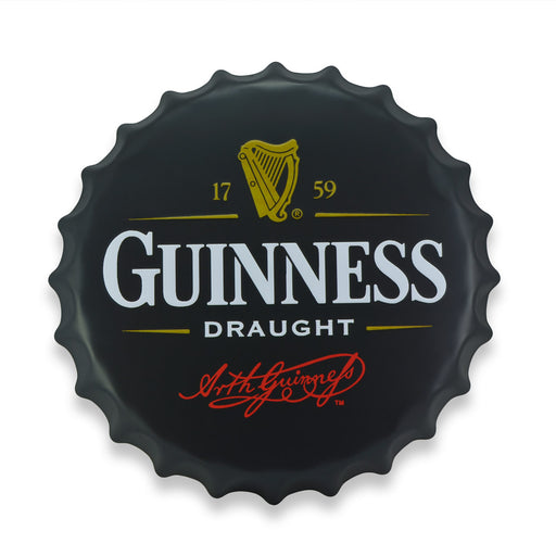 Bottle Cap Wall Sign - Beer Guinnes Draught Logo