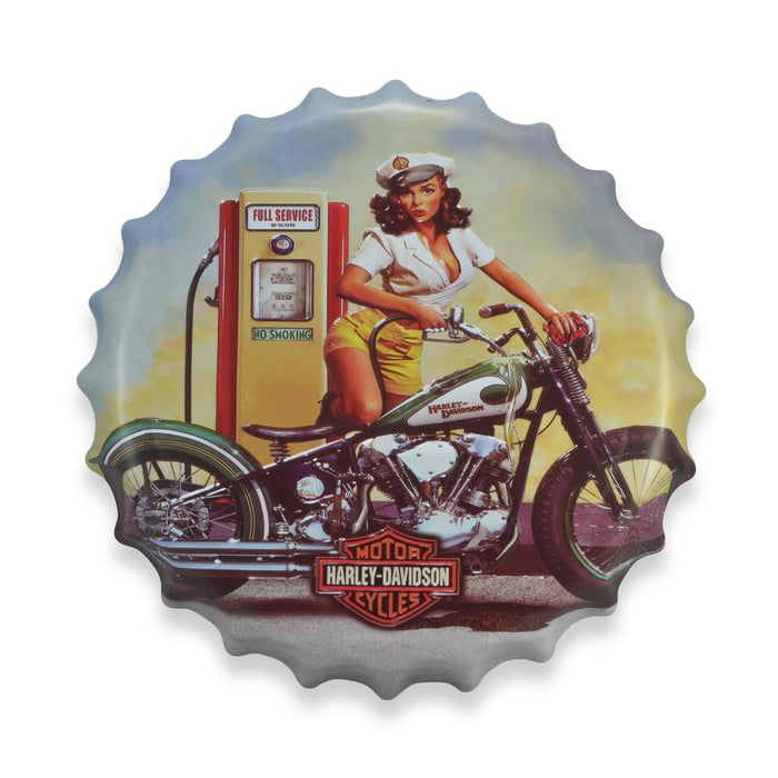 Bottle Cap Wall Sign - Harley Davidson Full Service Girl | That Bloke