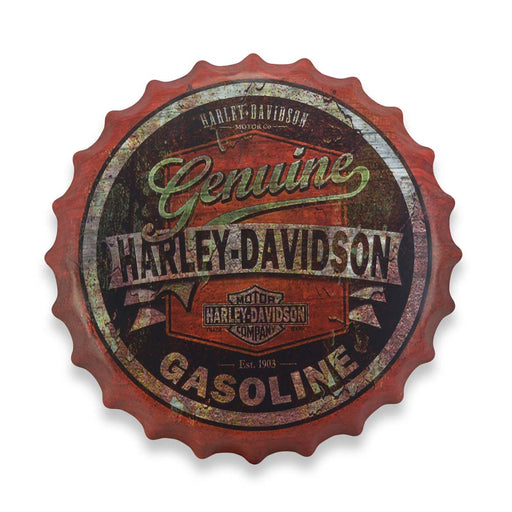 Bottle Cap Wall Sign - Motorcycle Logo Harley Davidson Gasoline