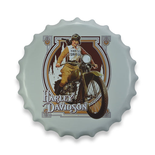 Harley Davidson Motorcycle Girl Bottle Cap Metal Sign Round Front View