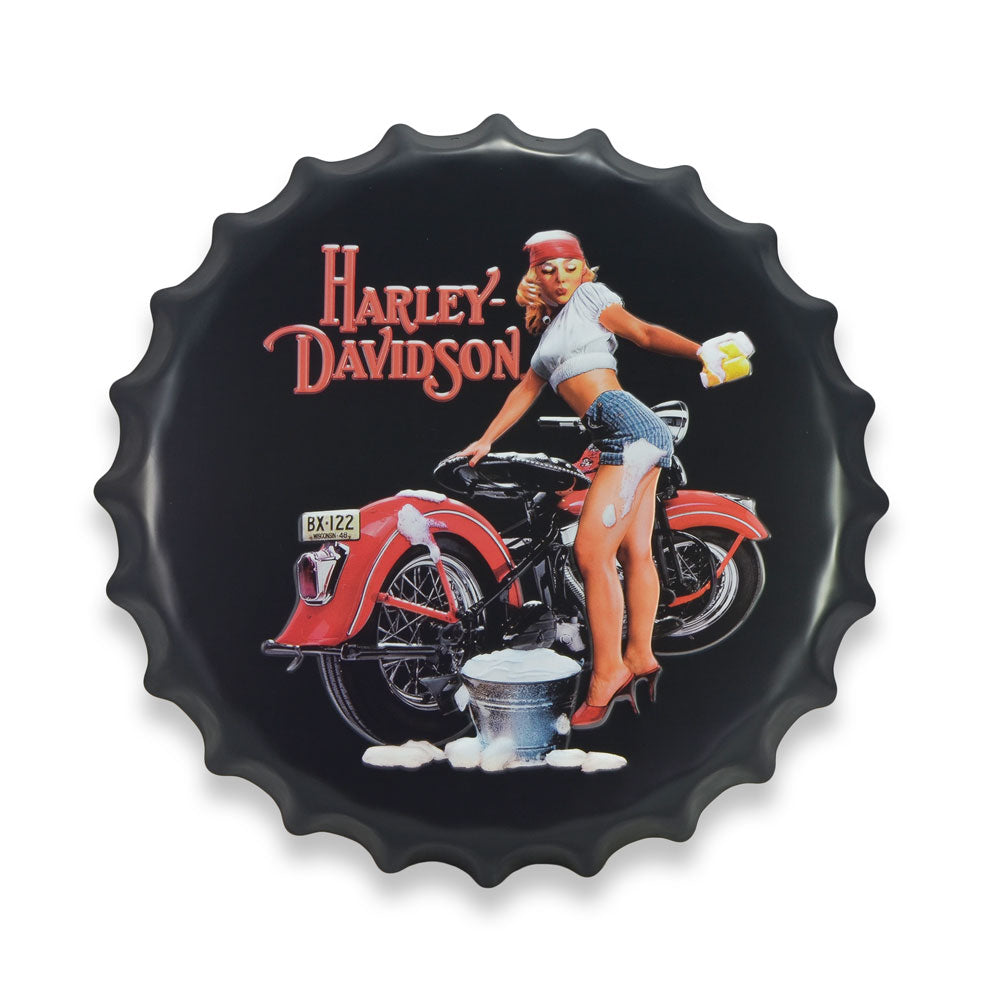 Bottle Cap Wall Sign - Harley Davidson Motorcycle Wash Girl | That Bloke