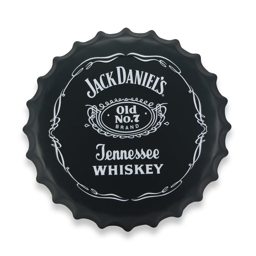 Jack Daniels Bottle Cap Metal Sign Tennessee Whiskey Logo Round Front View