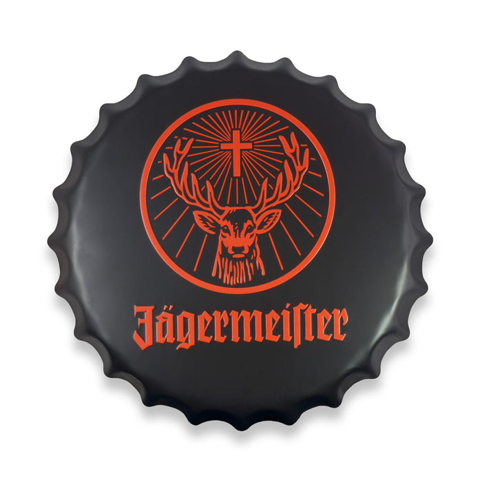 Jagermeister Bottle Cap Metal Sign Round Front View