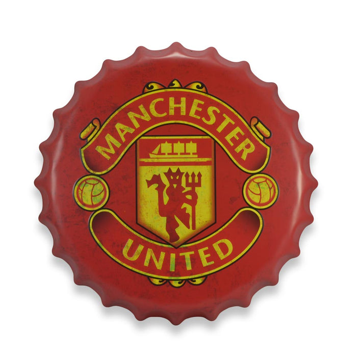 Manchester United Bottle Cap Metal Sign Soccer Football Club Round That Bloke