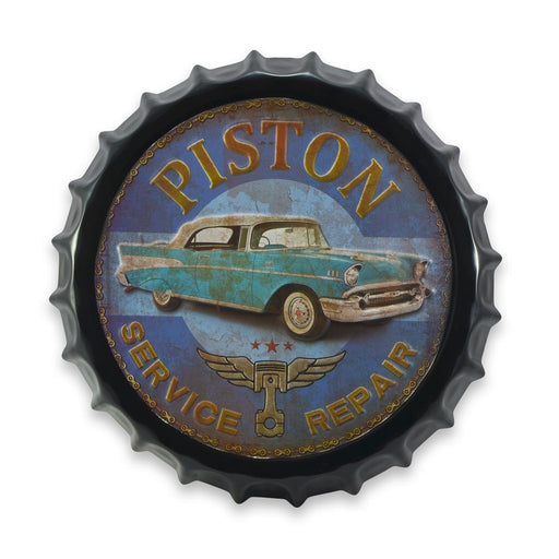 Bottle Cap Wall Sign - Piston Service Repair Cadillac Car | That Bloke