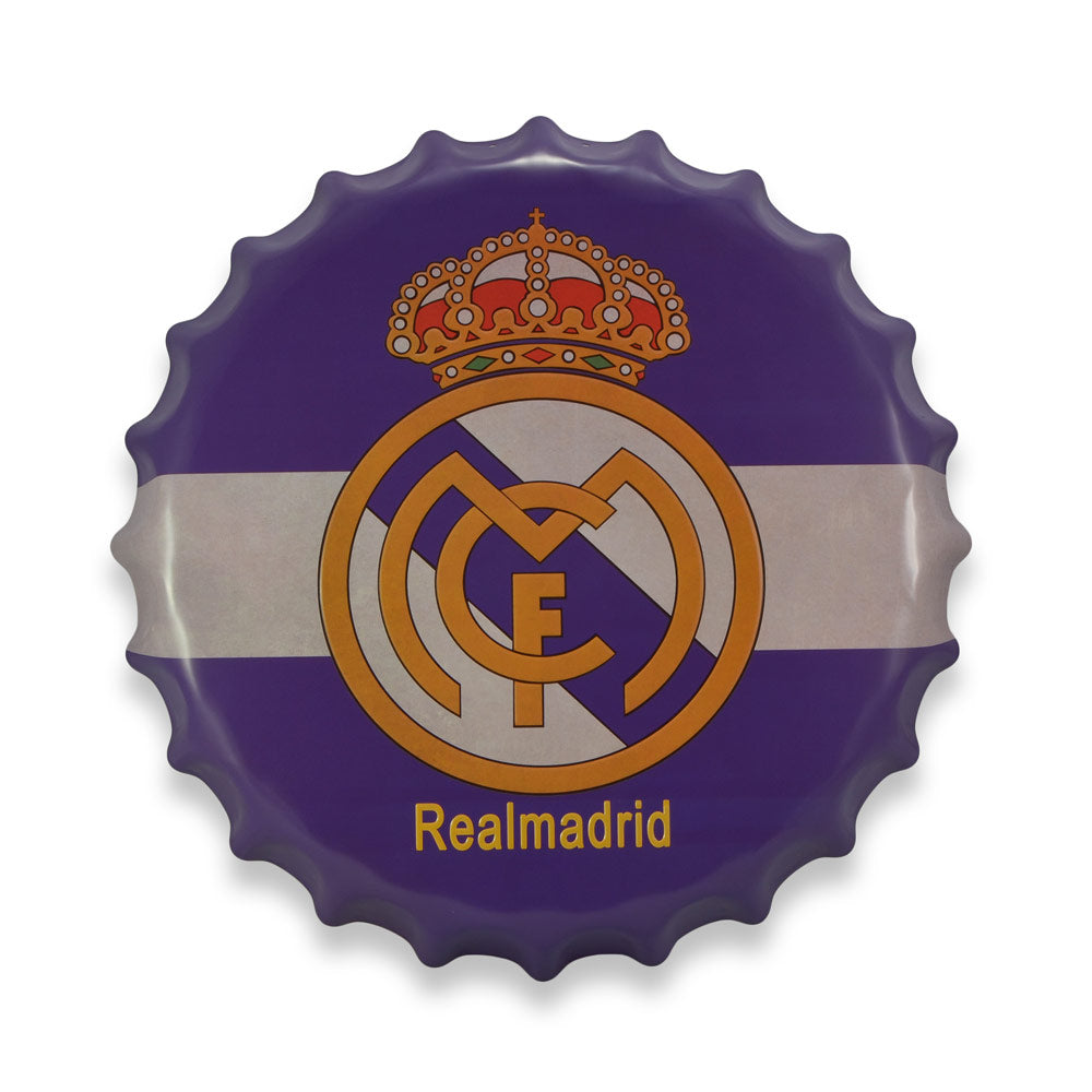 Bottle Cap Wall Sign - Real Madrid Soccer Club Logo | That Bloke