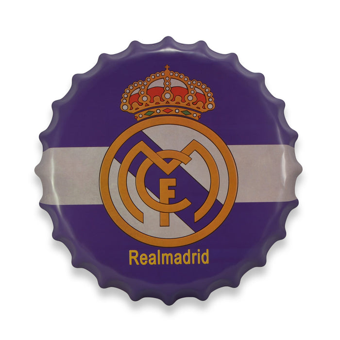 Real Madrid Bottle Cap Metal Sign Soccer Football Club Logo Round Front View