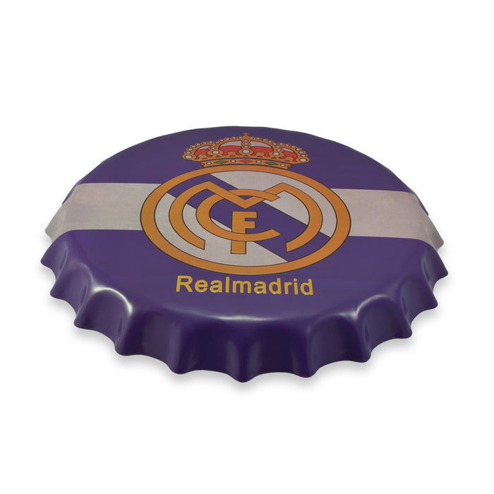 Real Madrid Bottle Cap Metal Sign Soccer Football Club Logo Round Top View