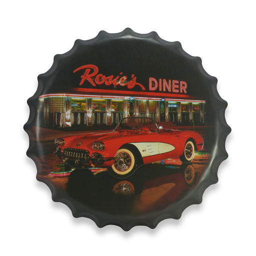 Bottle Cap Wall Sign - Chevrolet Corvette at Rosie's Diner | That Bloke