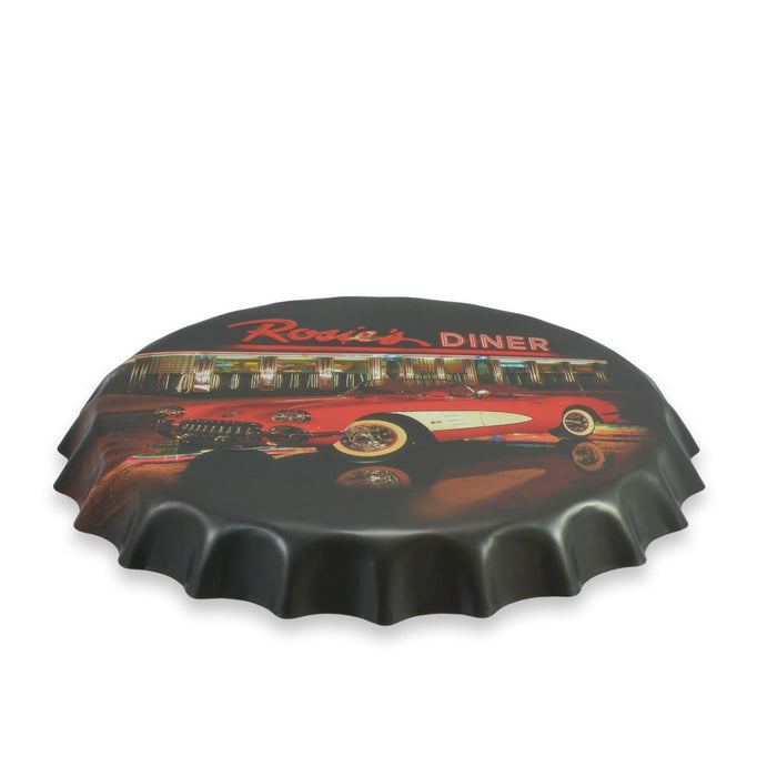 Rosie's Diner Bottle Cap Wall Sign Chevrolet Corvette C1 Round Top View