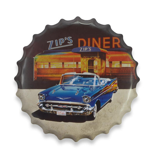 Bottle Cap Wall Sign - Chevrolet Bel Air at Zip's Diner | That Bloke