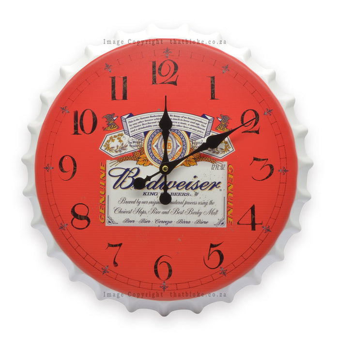 Budweiser Beer Metal Clock Tin Red and white Front