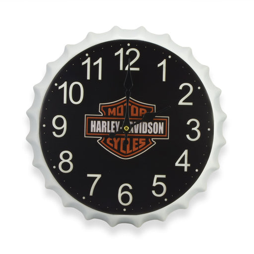 Bottle Cap Wall Clock - Harley Davidson Motorcycles Logo | That Bloke