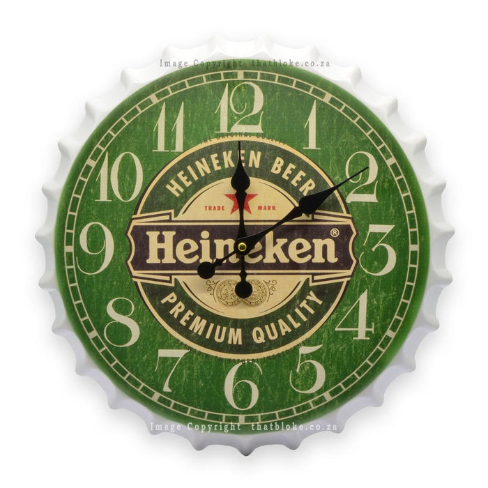 Beer Bottle Cap Clock Metal Green White Front