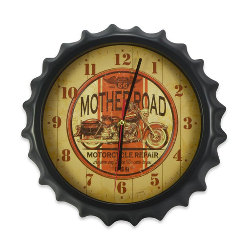 Bottle Cap Wall Clock - Mother Road Motorcycle Repair (Glass)