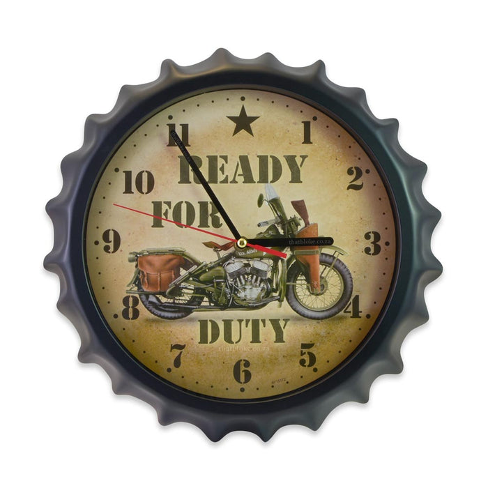 Bottle Cap Wall Clock - Ready For Duty (Glass) | That Bloke