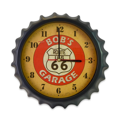 Bottle Cap Wall Clock - Route 66 Bob's Garage (Glass) | That Bloke