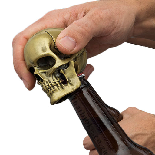 Skull Bottle Opener Matte Gold Novelty Men's Gift