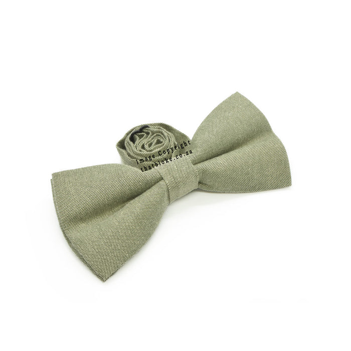 Khaki Green Bow Tie Side View