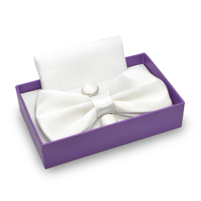Bow Tie, Pocket Square & Cufflink Set (White) | That Bloke