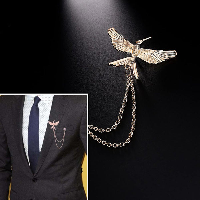 Men's Brooch - Mocking Bird (Rose Gold)