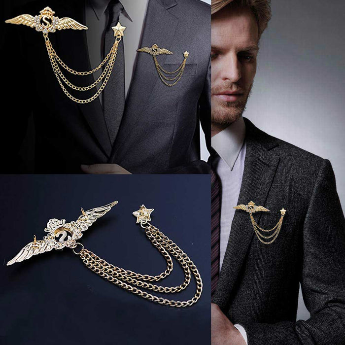 Men's Brooch - Letter S Crown Wings with Chain & Star (Gold) | That Bloke