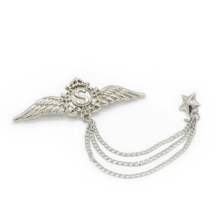 Crown Wings Letter S Brooch Silver Front