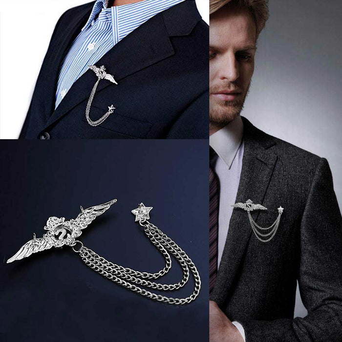 Men's Brooch - Letter S Crown Wings with Chain & Star (Silver) | That Bloke