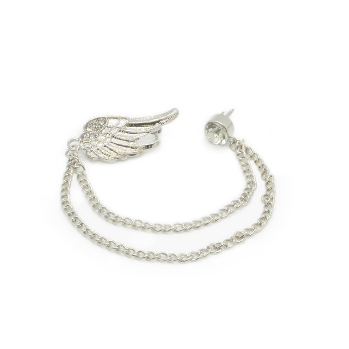 Men's Brooch - Wing with Chain & Jewel (Silver) | That Bloke