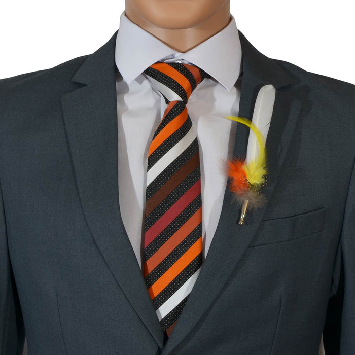 White Mens Feather Brooch Orange Yellow Lapel Image Close Up