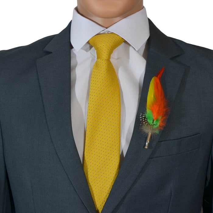 Yellow Men's Feather Brooch Orange Green Lapel Image Close Up