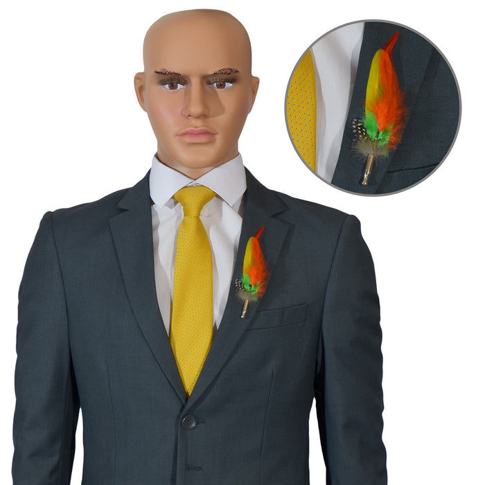 Yellow Men's Feather Brooch Orange Green Lapel Image