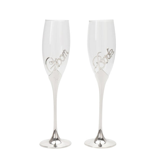 Bride And Groom Champagne Glasses Flutes Silver Text Image Front