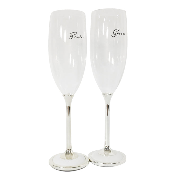 Bride And Groom Champagne Glasses Set Silver White Black Text Image Front