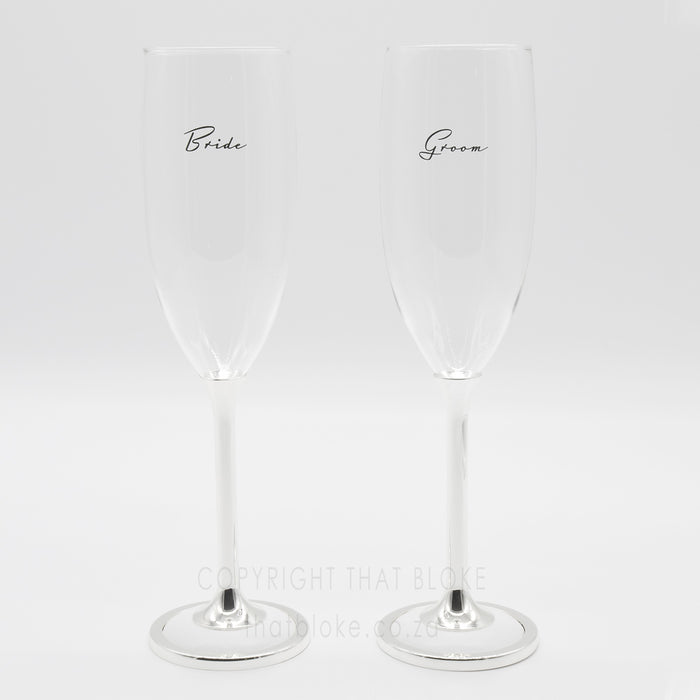 Bride And Groom Champagne Glasses Set Silver White Black Text Image Display Front