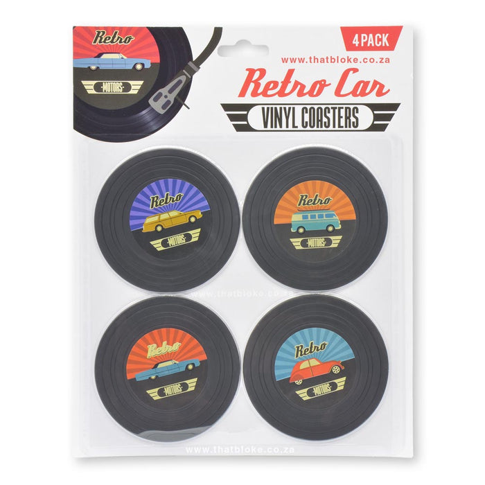 Retro Vinyl Car Coasters Set of 4 Packaging